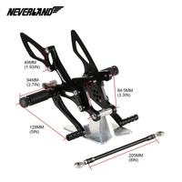 wholesale motorcycle accessories CNC adjustable footrest bracket rearset pegs footrest for For Kawasaki Ninja ZX6R 2005-2008