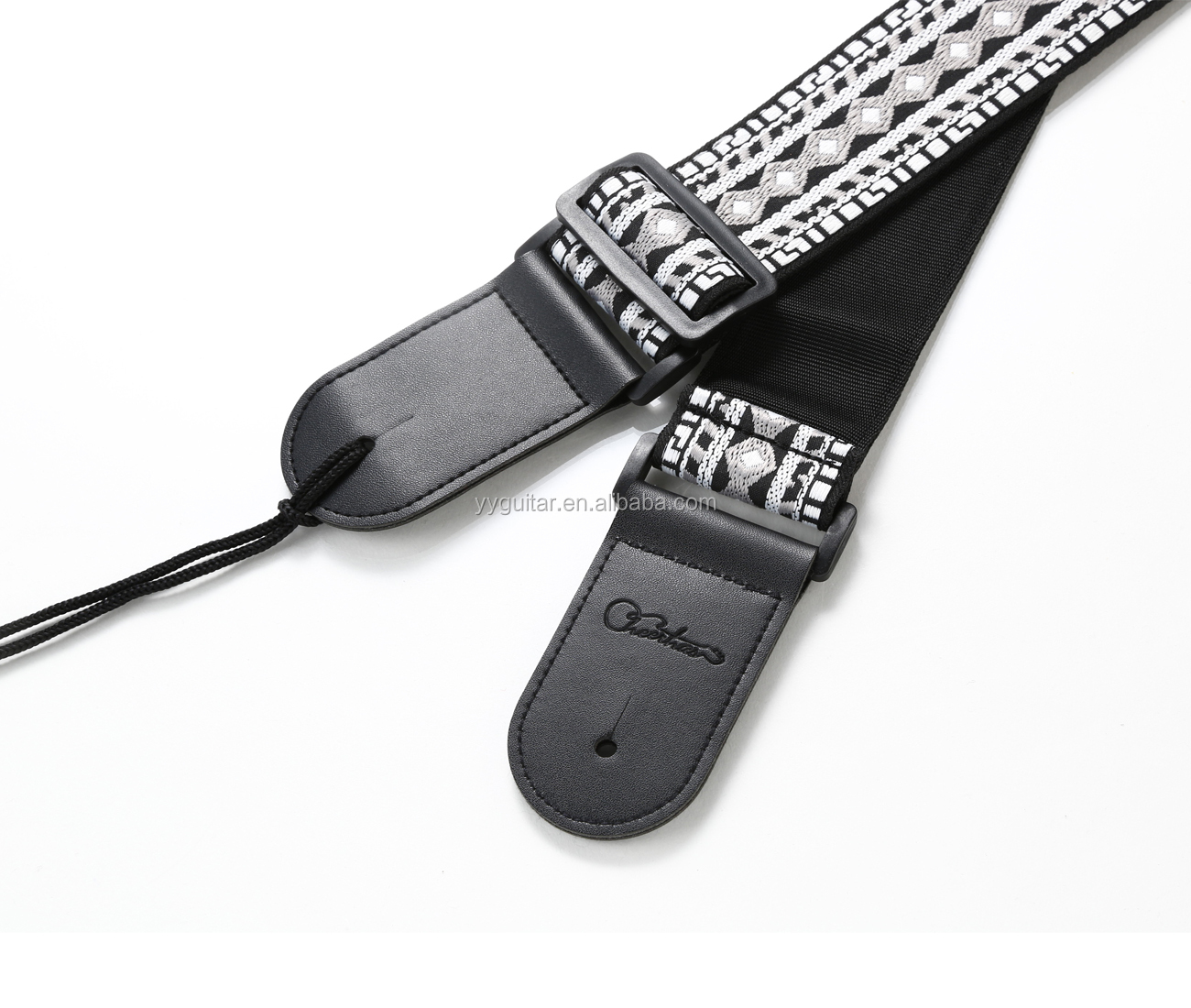 Cheerhas Guitar Strap Jacquard Weave Strap With Leather Ends Vintage Classical Pattern Design Guitar Picks And Lock Free