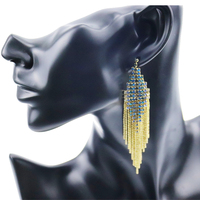 Stylish Sapphire Rhinestone Tassel Gold Tone Crystal Beads Earrings