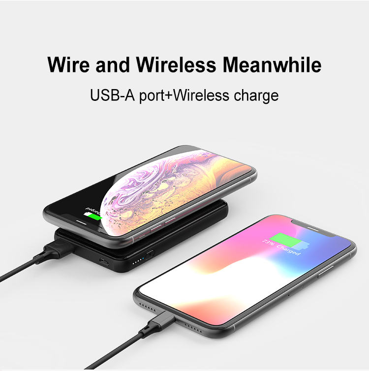 Thin Mini Fashion Unique  5000mah Charger Wireless Power Bank with Suction Cups