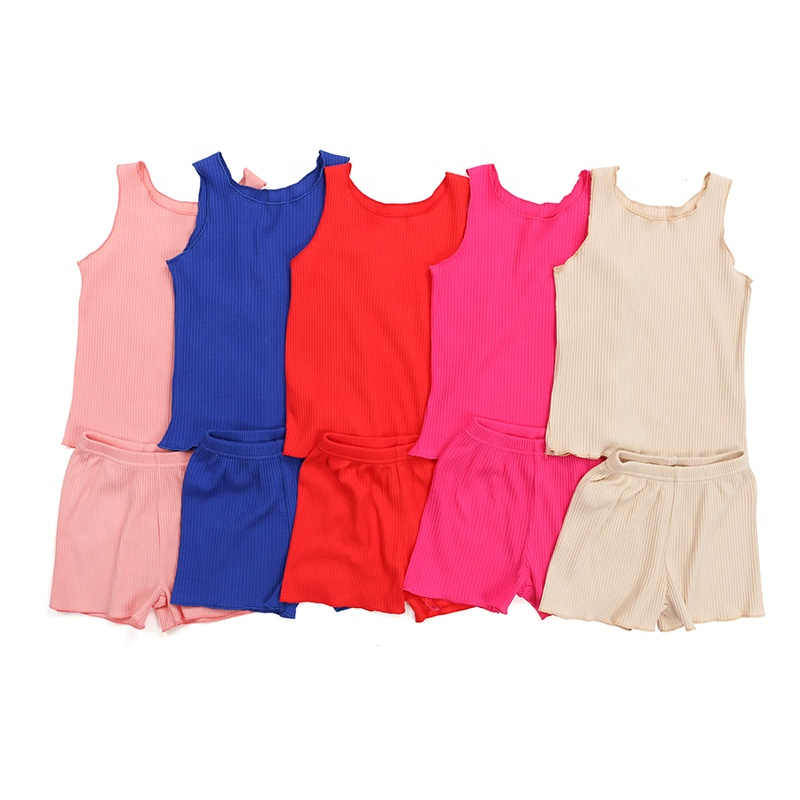 Kids clothing wholesale girl boutique clothes tank top and shortie knit cotton rib girl summer sets
