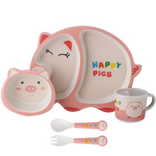 Eco friendly Bamboo Fiber Children's Baby Tableware <strong>plates</strong> sets dinnerware