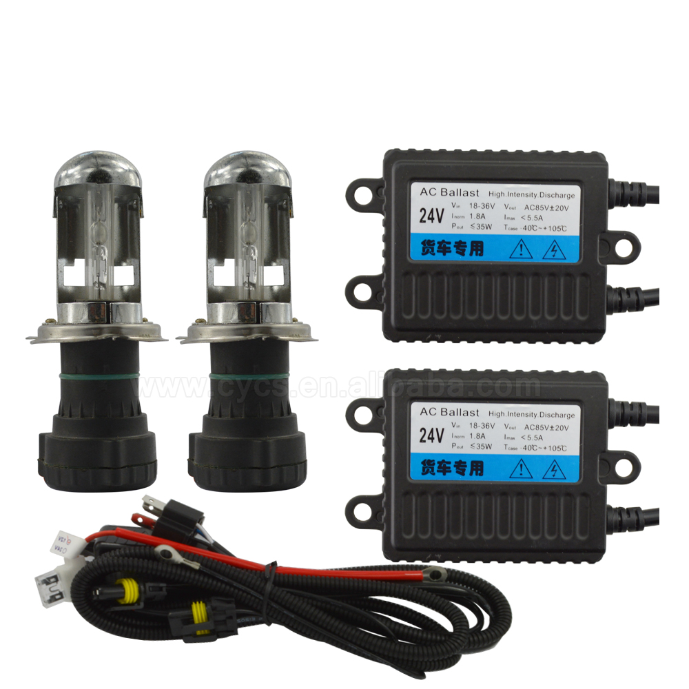 Factory supply CE 4300k 6000k 8000k 24v 35W HB2 9003 h4 bi-xenon trucks <strong>hid</strong> xenon <strong>kits</strong>