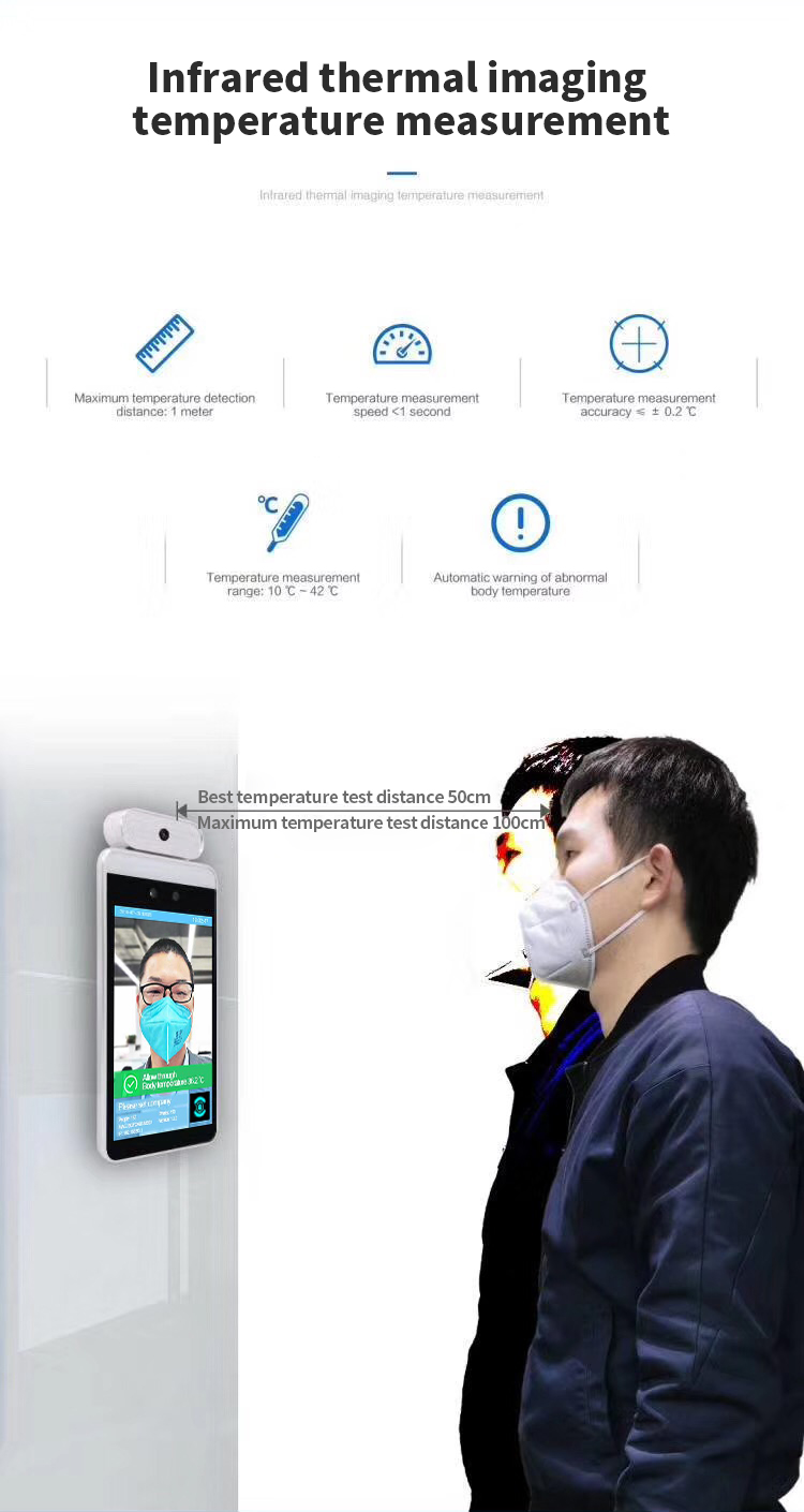 8 inch Thermal face recognition human body temperature camera system with temperature measurement access control
