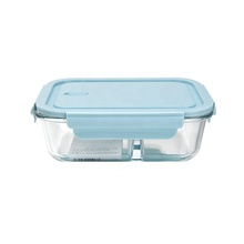 Hot Selling Rectangle Glass Crisper With 2 Compartments For Food Storage