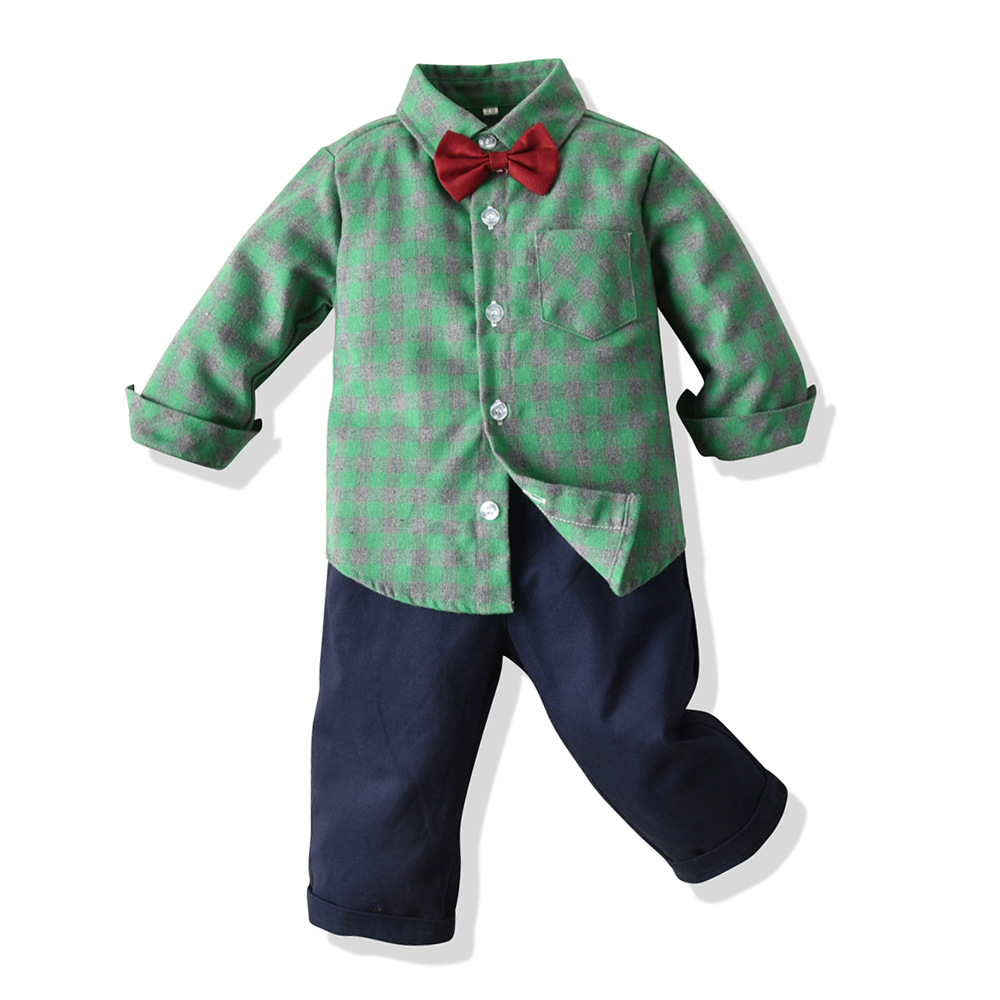 baby boy clothing suits 2pcs Boys plainds shirt Clothes