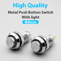 8mm Waterproof Latching/Momentary Maintained High Round Metal Push Button Switch Light Shine Car Horn 3V 5V 12V 24V