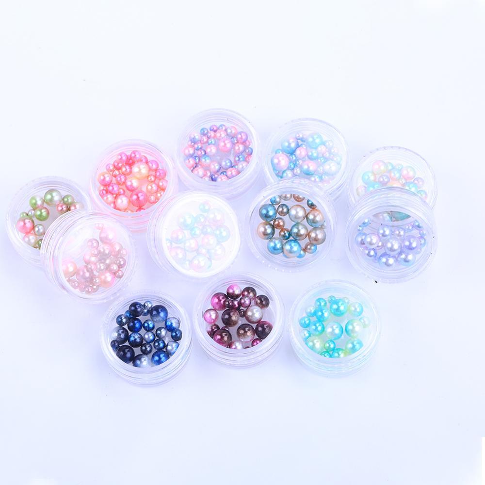 Mix Regenbogen Farbe Runde ABS Imitation Perle Keine Loch Lose Perlen DIY
