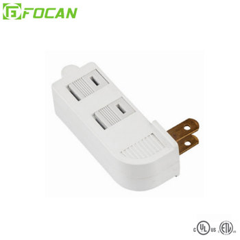 3 outlets grounding adapter with hang lug