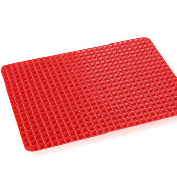 Hot Creative Useful Pyramid Pan Silicone Non Stick Fat Reducing Mat Microwave Oven Baking Tray Sheet KitchenTool M0131