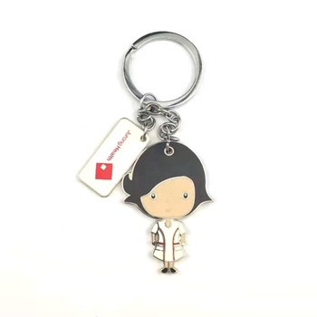 Promotional gift craft custom cute enamel metal keychain