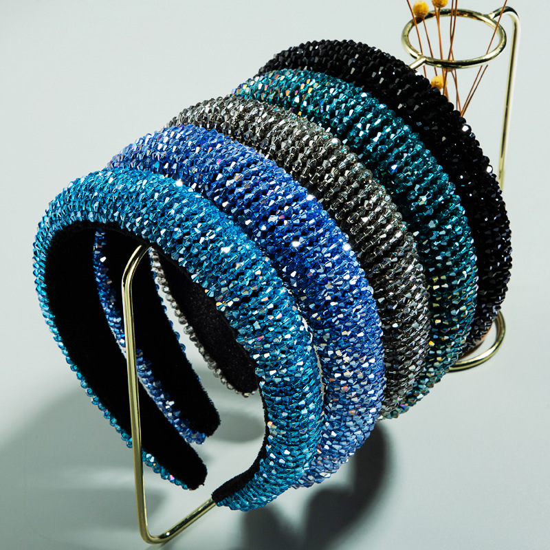 Luxury Bling Headwear <strong>Hair</strong> <strong>Accessories</strong> Wide Sparkling Diamond <strong>Hair</strong> Bands Shining Blue Crystal CZ Headbands For Women