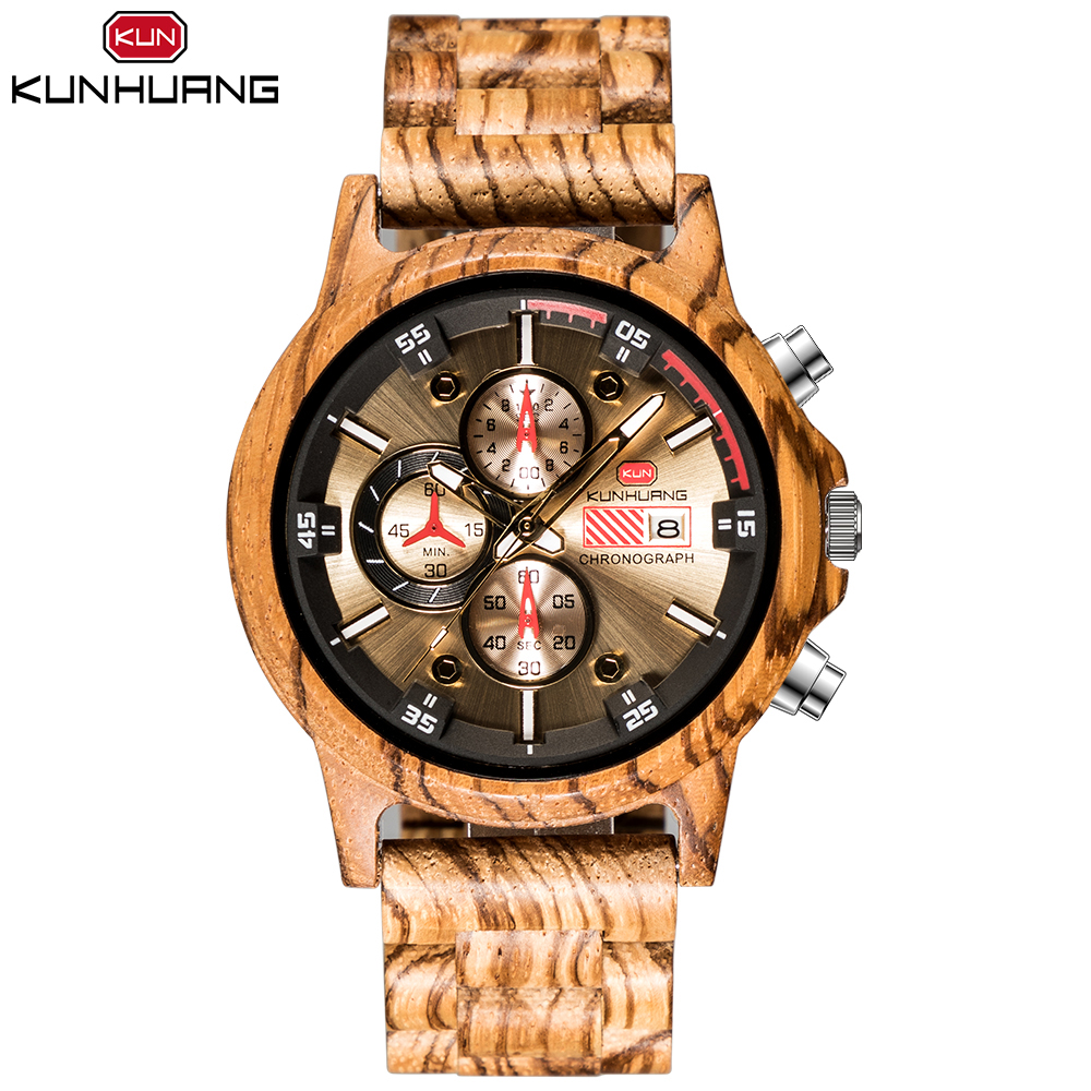KunHuang <strong>1010</strong> Zebra Wooden Watch relogio masculino Watches Sport Chronograph Quality Quartz Date Male Clock Gift Men Wood Watch