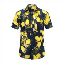 Wholesale Summer <strong>Men's</strong> Hawaii <strong>Shirts</strong> Short Sleeve Lemon Printed Beach Casual <strong>Shirts</strong> For Men