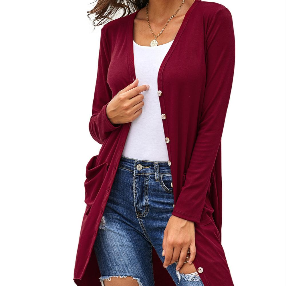 Wholesale Long Sleeve Button Down Knitted Sweater Long Cardigan For Women