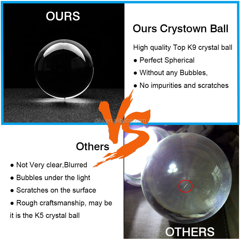 DILU Wholesale Clear K9 Crystal Ball/k9 Solid Crystal Ball for Sale/Laser Carving Solar Glass Sphere Crystal Ball with Stand