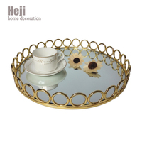 Home Decorative Iron Mirror Abstract Design Art Dry Fruit Serving Trays