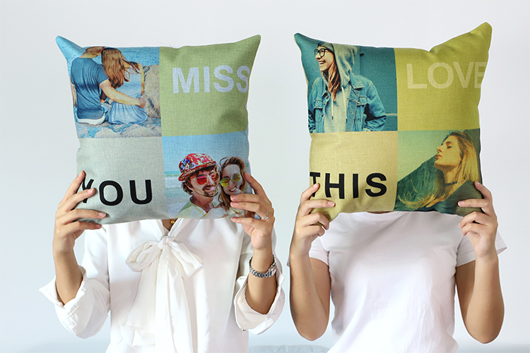 Unique!!! Custom Sublimation Blank Light Blue Linen Pillow Case for Heat Transfer Printing