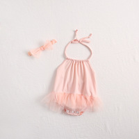 ins Newborn baby clothes baby girls net ha skirt is made of pure cotton yarn package fart climb clothes with hair band