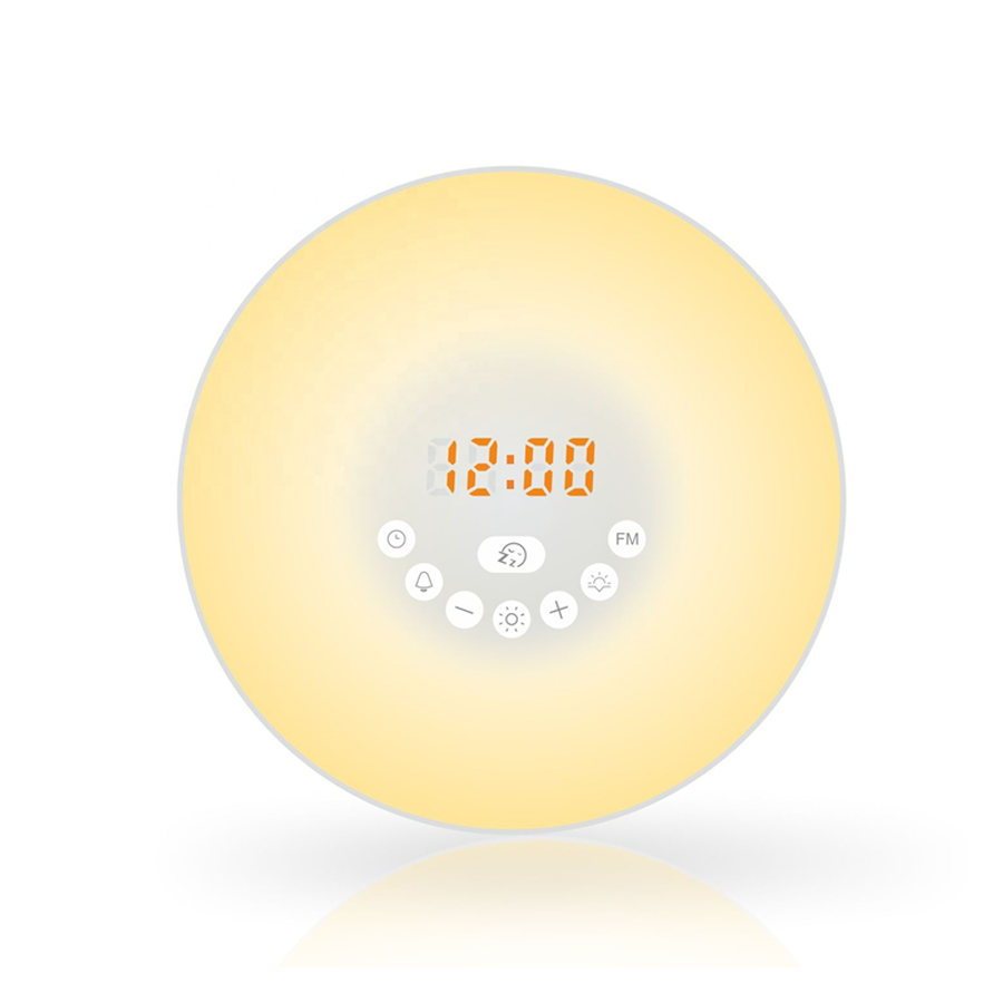 Led digital alarm clock sunrise wake up light with FM radio
