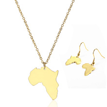 Amazon New 18K Gold High Polished Blank Africa Map Necklace <strong>Earrings</strong> Stainless Steel African Map <strong>Earrings</strong> Necklace