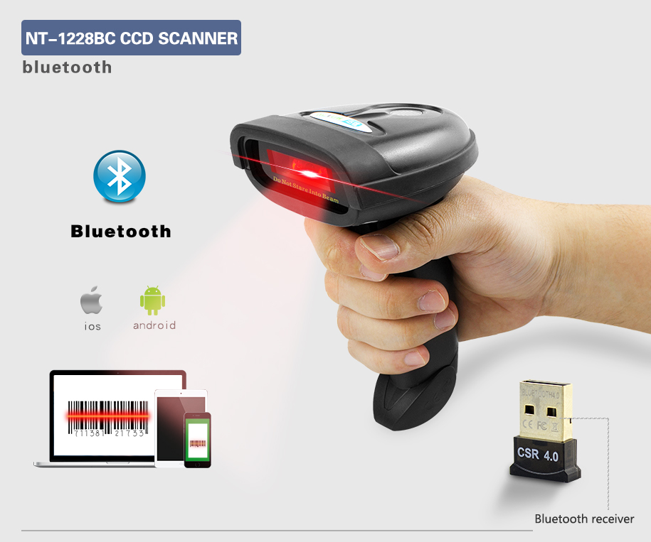 NETUM NT-1228BL Bluetooth QR 2D Barcode Scanner AND NT-1228BC Wireless Bluetooth CCD Barcode Reader for Mobile Screen Payment