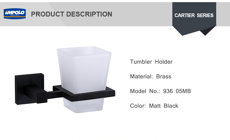 Hotel Bathroom Accessory Set Wall Mounted Matt Black Cup Holder Single Tumbler Holder
