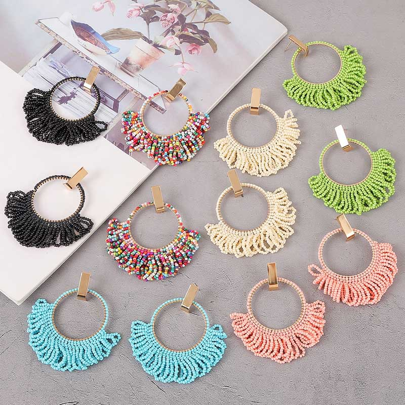 LA026Trade Assurance 2020 Latest Fashion Bohemia Ethnic Style Hand-woven Colourful Tassel Earrings Vintage Beaded Women Earrings
