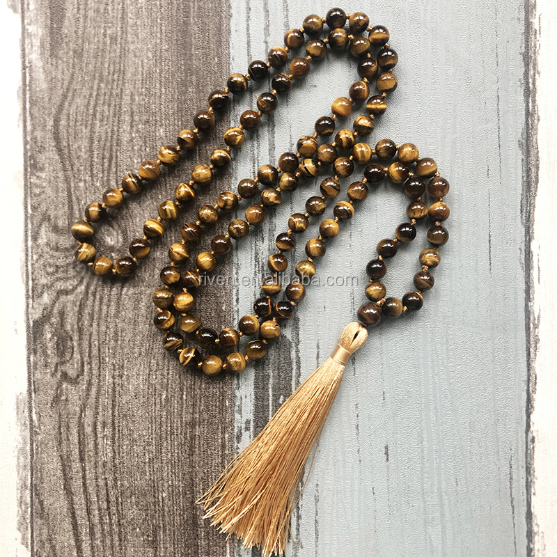 ST0623 108 Healing Stone Knotted Necklaces Handmade Long Beads Necklace Jewelry Men 8MM Tiger's Eye Knotted Necklace