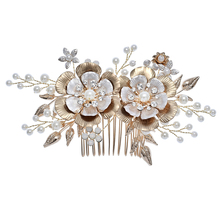 Beautiful Design White Flower Gold Plated Rhinestone Pearl Leaf <strong>Hair</strong> Side <strong>Accessories</strong> Bridal <strong>Hair</strong> Comb