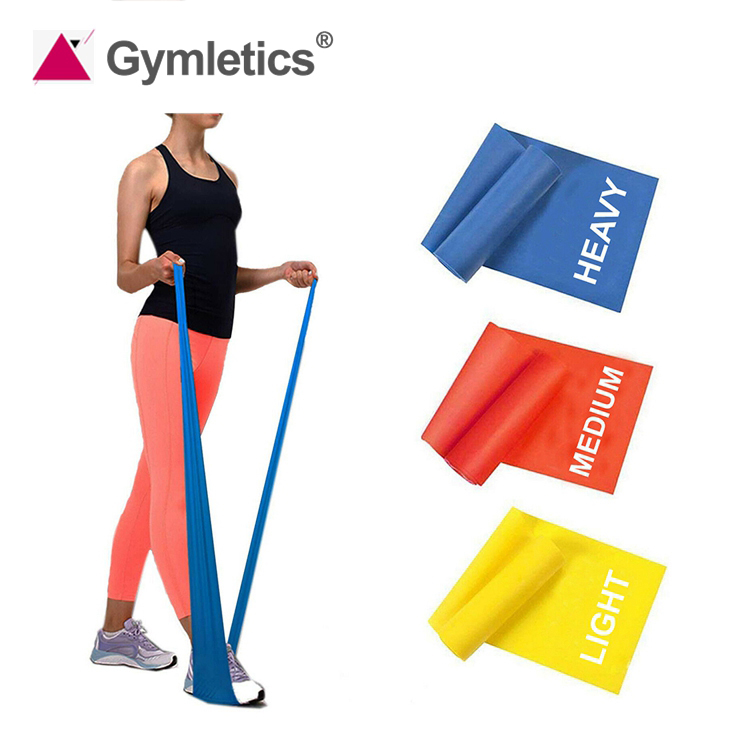 custom fitness exercises eco friendly latex theraband roll resistance bands with logo