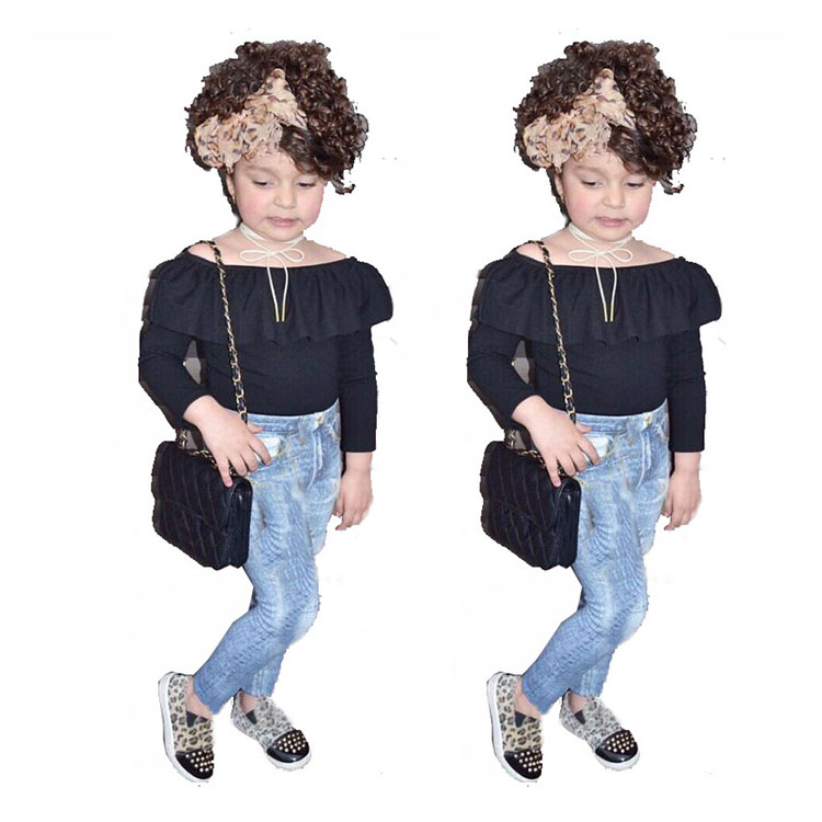 Girls Clothing Set 2019 New Long Sleeve Black One-Shoulder Top + <strong>Jeans</strong> 2 Piece Set