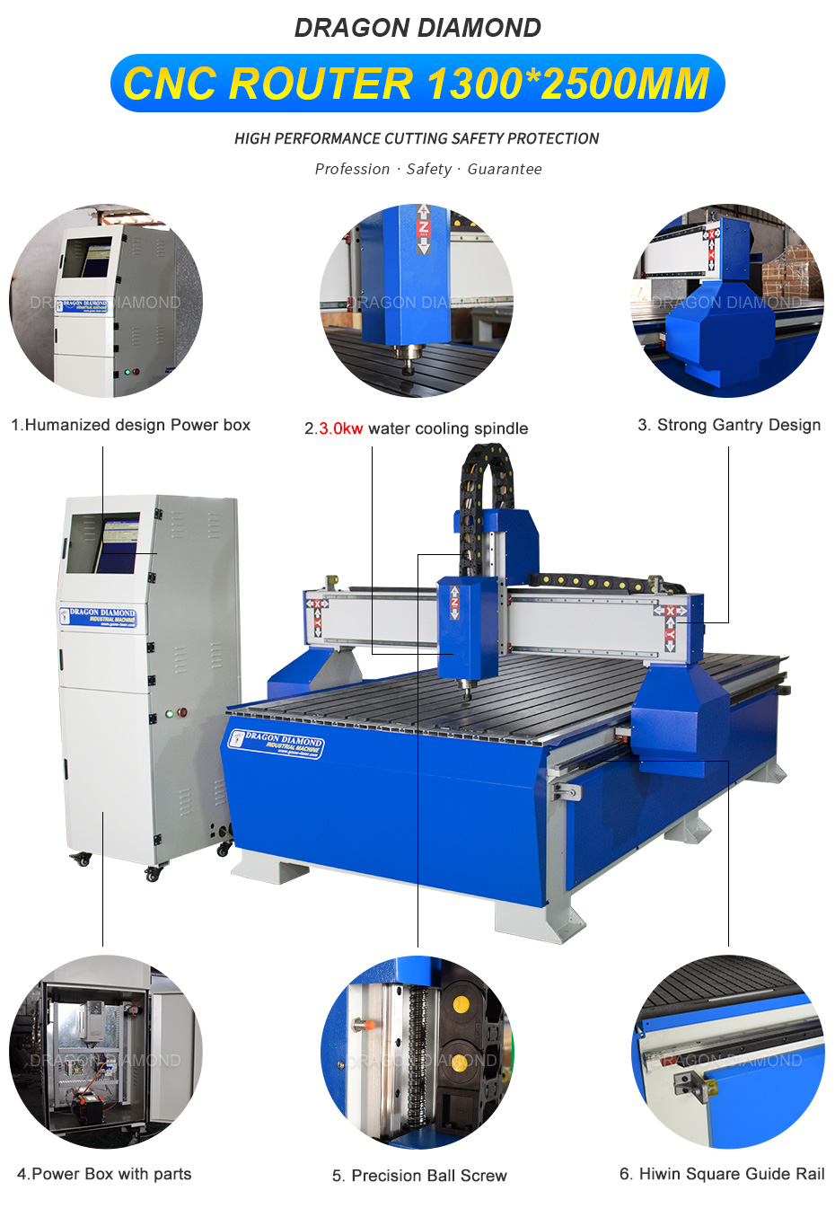 1325A woodworking cutting machine cnc engraving router  with T-slot Aluminum Table Structure