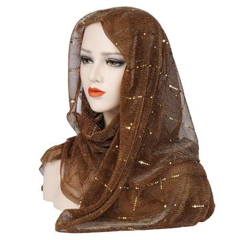 2019 New Design Muslim Scarf, Sequined Muslim Hood,Fashion Autumn Shawl Silk Scarf