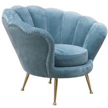 Shell Shaped Blue Velvet Corner Sofa Chair Stainless Steel Leg Luxury Hotel Lobby <strong>Furniture</strong> Modern