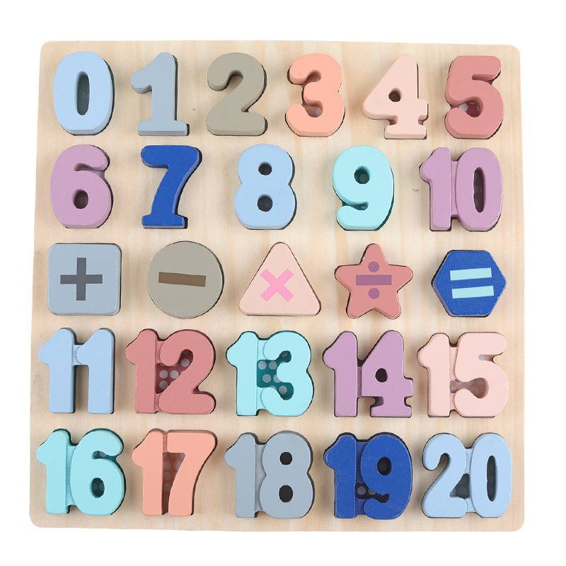 Wooden Learning Toys for Children Digital Counting Shape Matching Montessori Puzzle Toys Alphabet Wood Math Toys For Children