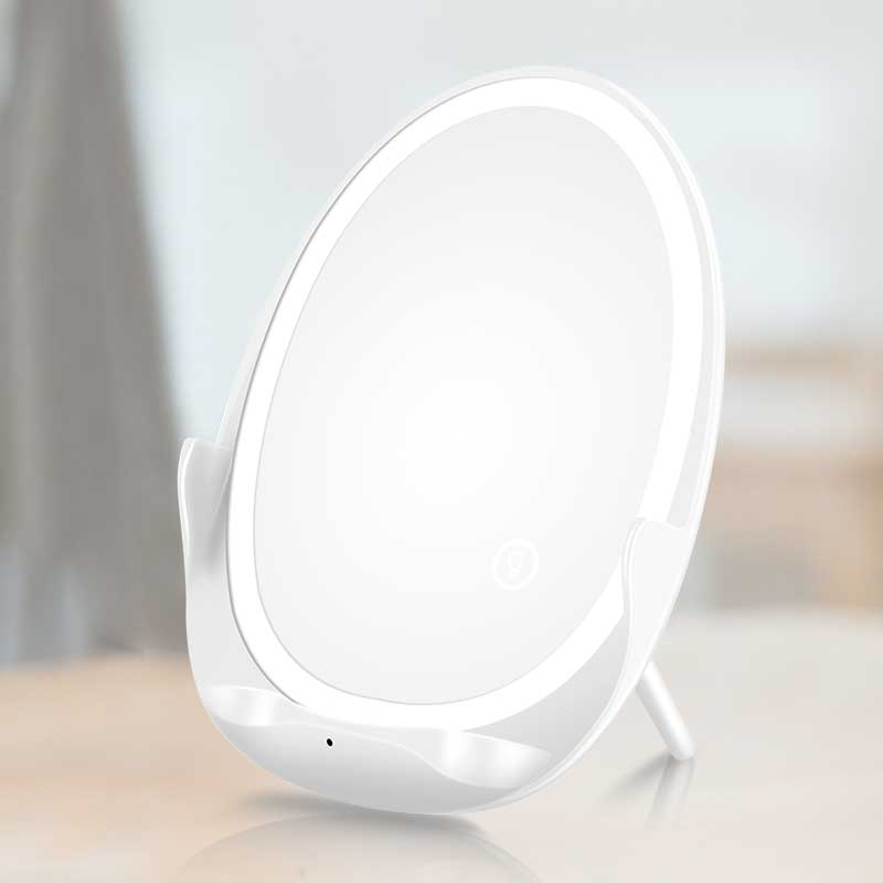 Mobile <strong>Phone</strong> Foldable 10W Fast Qi Wireless Charger with Makeup Mirror Surface LED Lamp HD Silver Plated Mirror Fast Charge <strong>W100</strong>