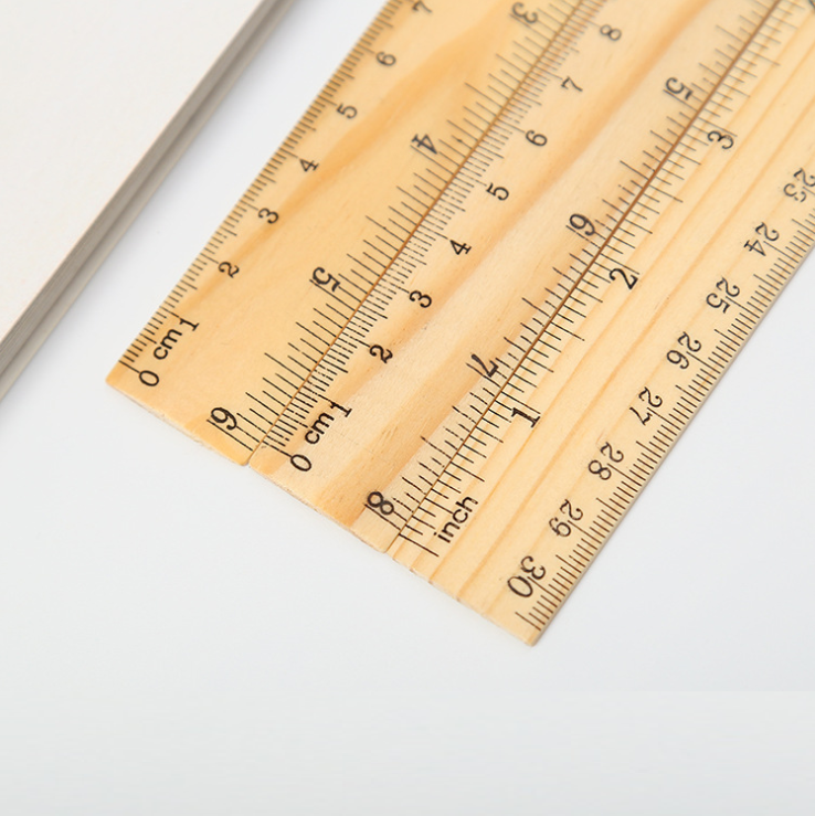 Promotional Eco-Friendly 100% nature wood double-scale wooden ruler 30cm