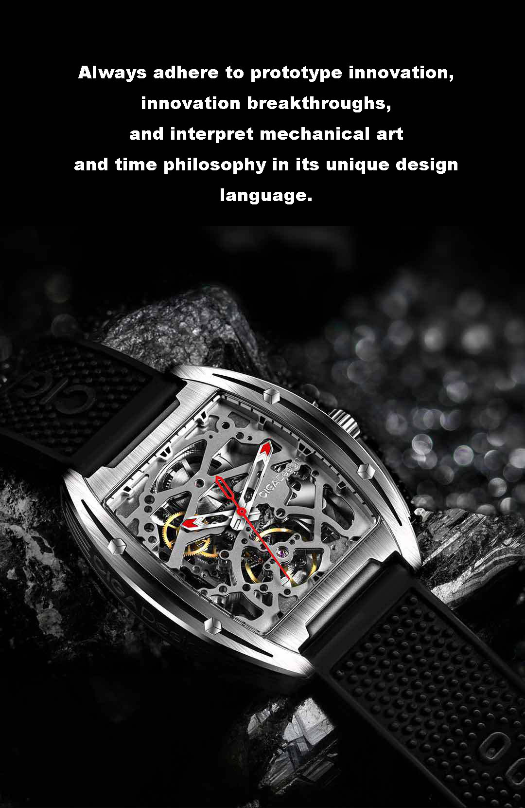 Double-sided hollow 3 color waterproof luxury watch automatic mechanical watch for man