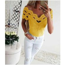 2019 Female Apparel <strong>Lace</strong> Detaild Sexy Short Sleeve Shirt Ladies Tops