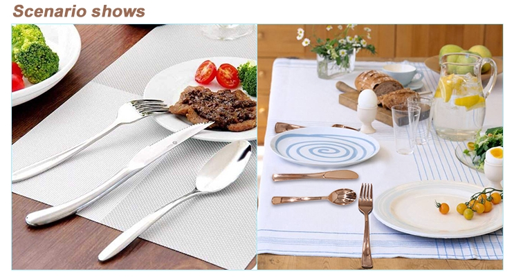 Modern Rose Gold Flatware Set Spoon And Forks Knives Plating Plastic Tableware