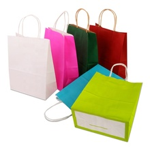 5Pcs Or 10 Pcs Environment Friendly Kraft Paper Bag Gift Bag With Handles Recyclable Shop Store Packaging Bag 10 Colors