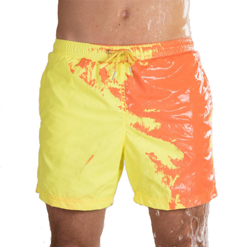2019 new fashion super fabric quick-drying temperature changing shortscolor changing swimwear Swim trunks beach shorts