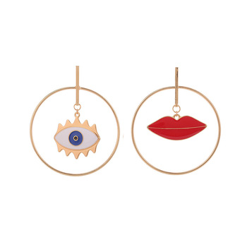 Big Brand European Vintage Blue Turkish Evil Eyes Drop Earrings Punk Style Oil Drip Red Lips Statement Earrings For Party