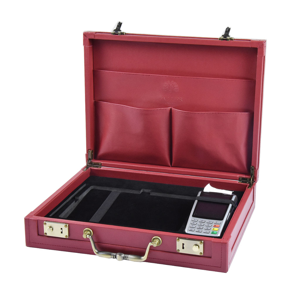 Custom design Vintage fashion square red leather suitcase storage box
