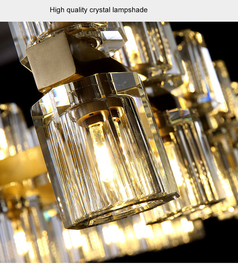 Modern crystal chandelier full copper living room light light luxury American rectangular dining room light