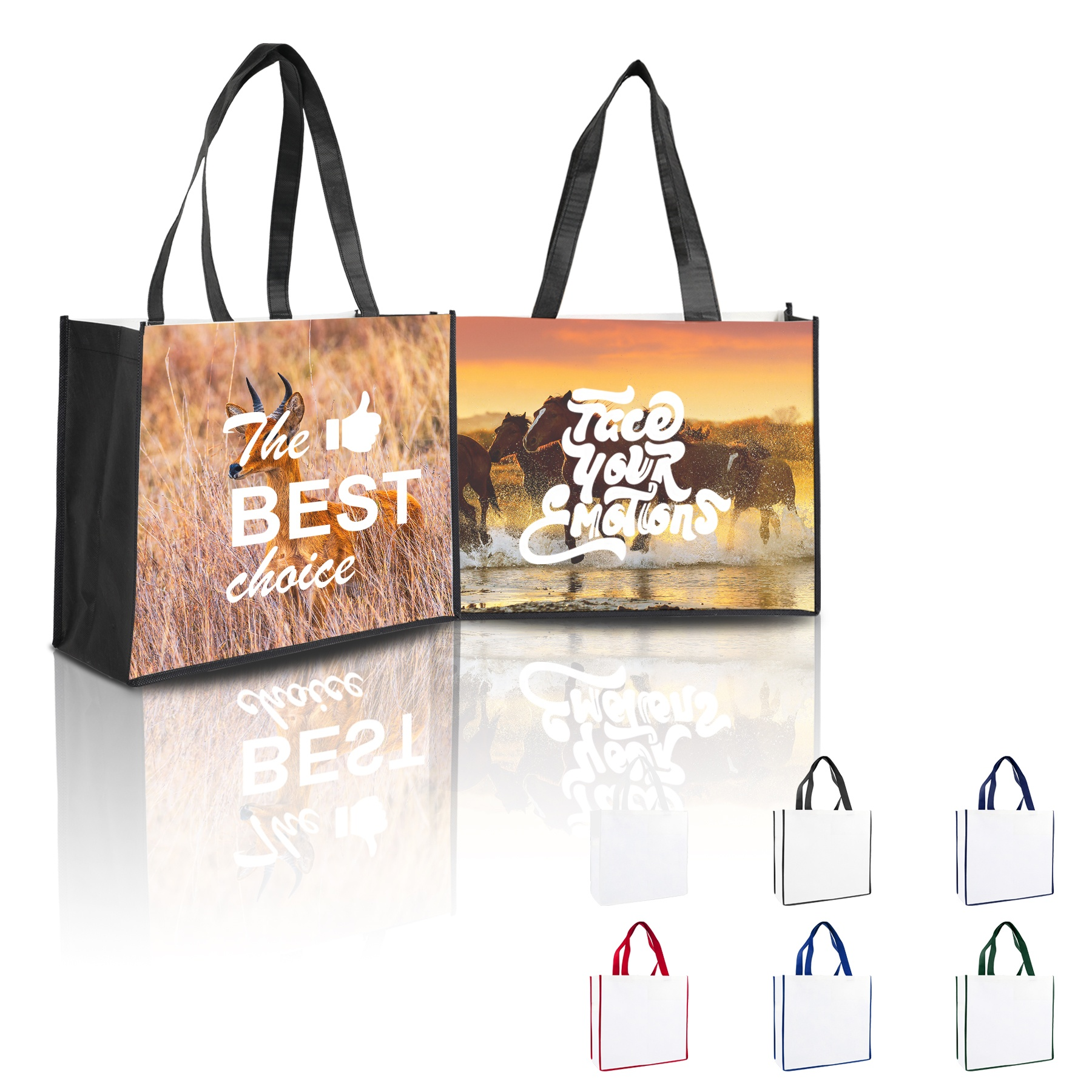 Heat Transfer Printing Non Woven Grocery Bags Laminated Shopping Tote with Custom <strong>Logo</strong>