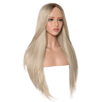 Ainizi high quality heat resistant 26'' yaki straight blended blonde color synthetic lace front wigs