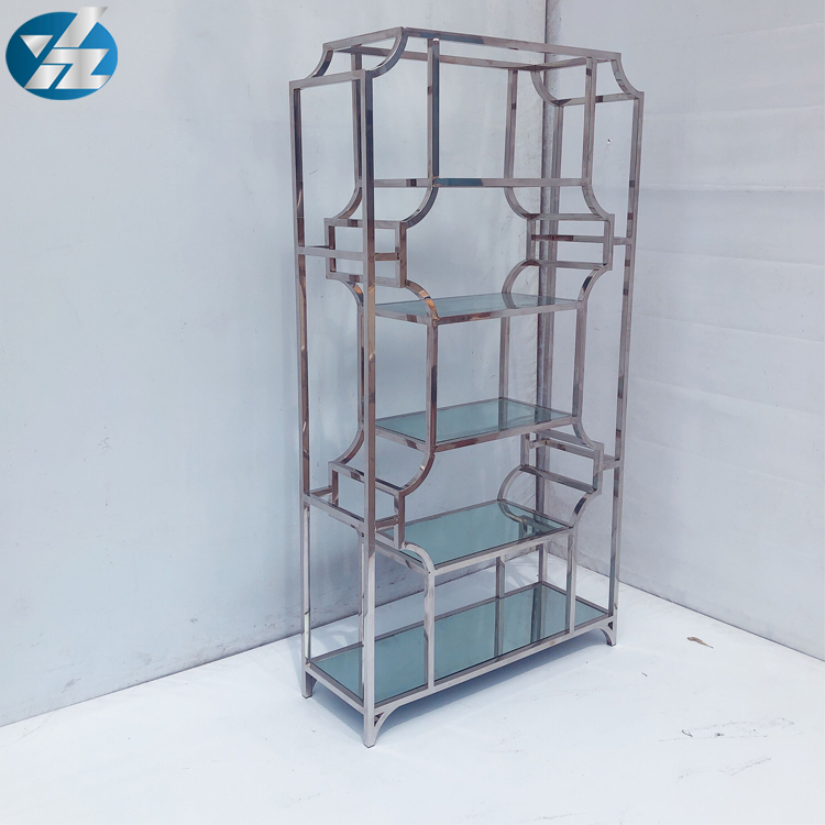 New design modern silver stainless steel wine cabinet wine rack with mirror glass top