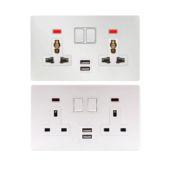 UK BR 220V 3 pin plug 13a 2Gang 2 Double usb port German 16A sockets multi wall electrical switch socket universal with USB